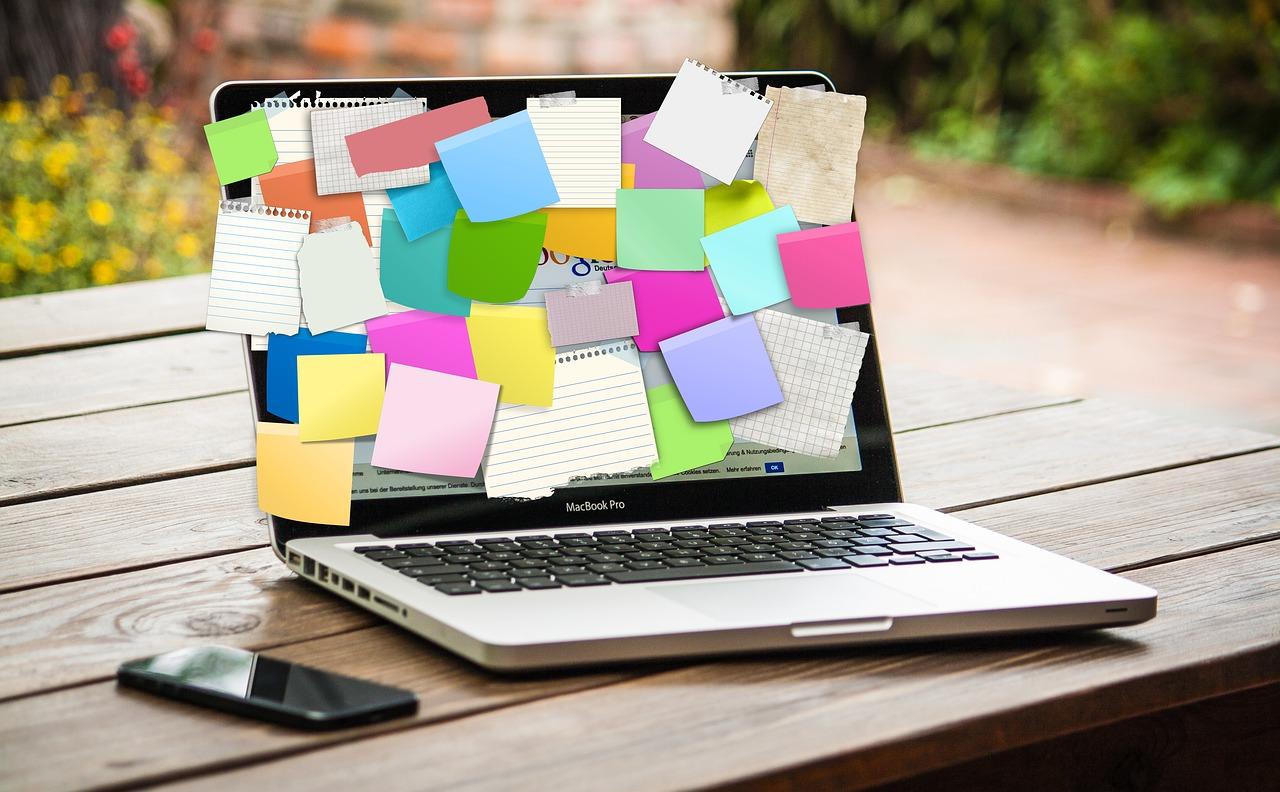bulletin board, laptop, computer